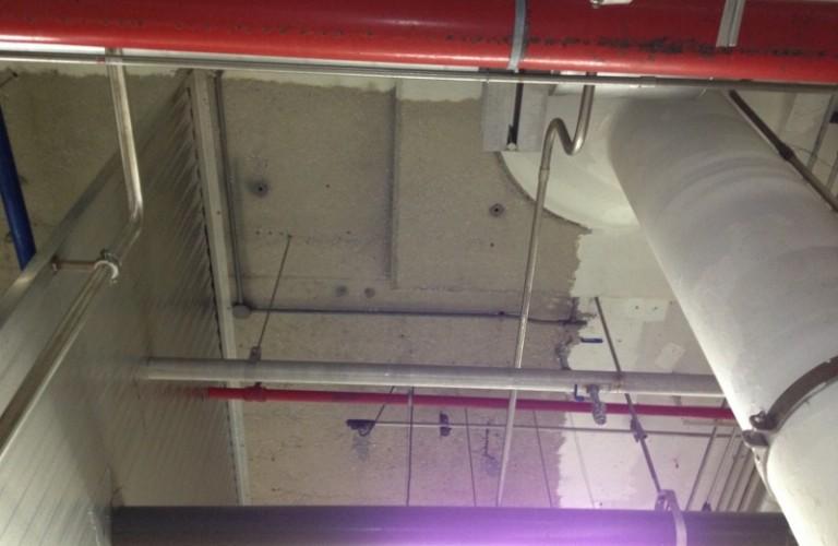 Sponge blasted ceiling.